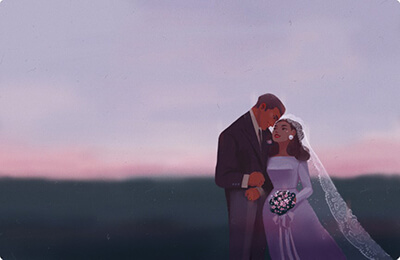 Romantic Bride and Groom Portrait at Dusk Wedding Art Preview