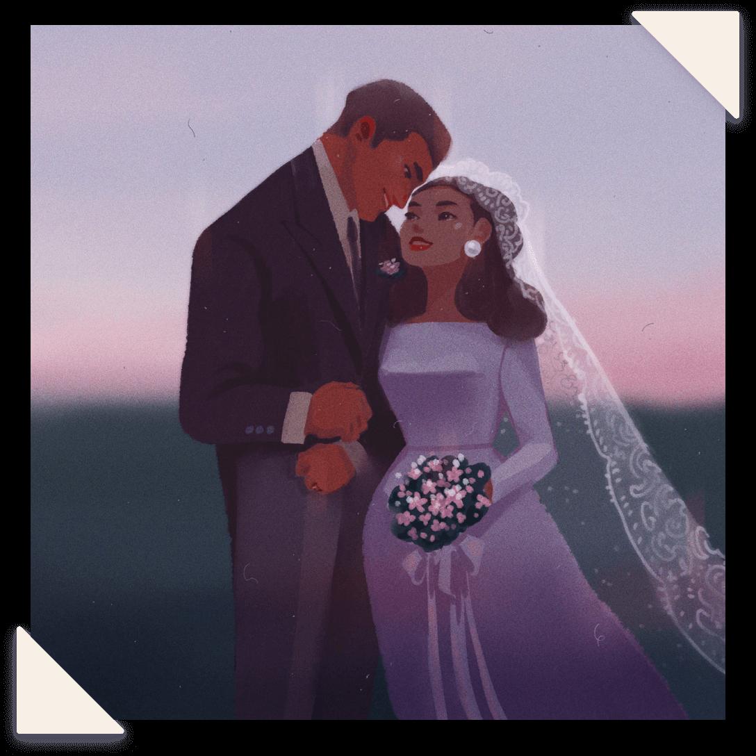 Wedding Portrait of Bride and Groom