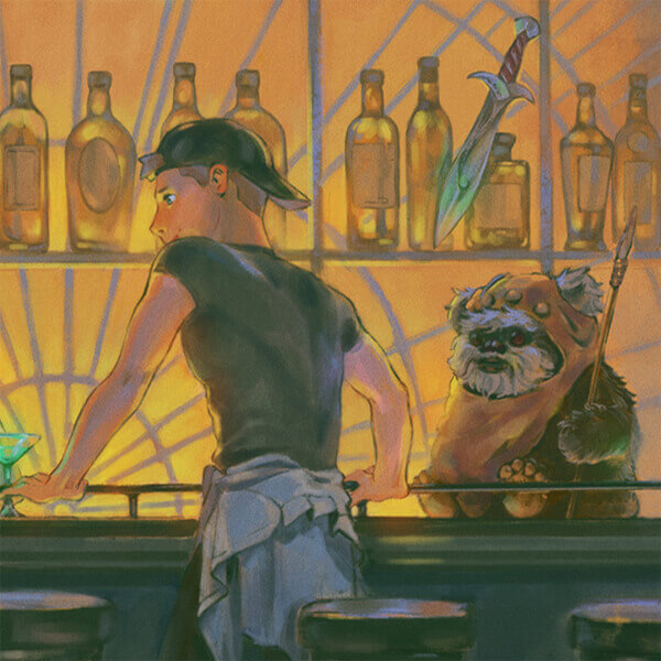 Thumbnail of Brad at the bar with an Ewok