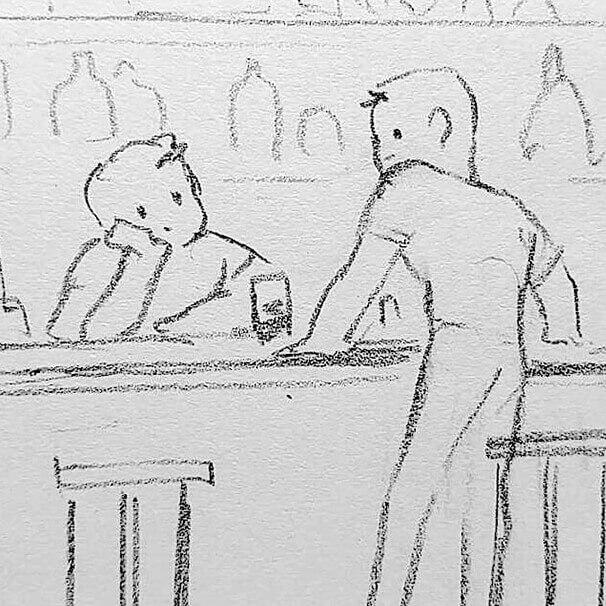 Idea Sketch of Nick & Brad's Wedding Art